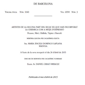 Madola, Memorias de La Real Academia de Ciencias y Artes de Barcelona 2015